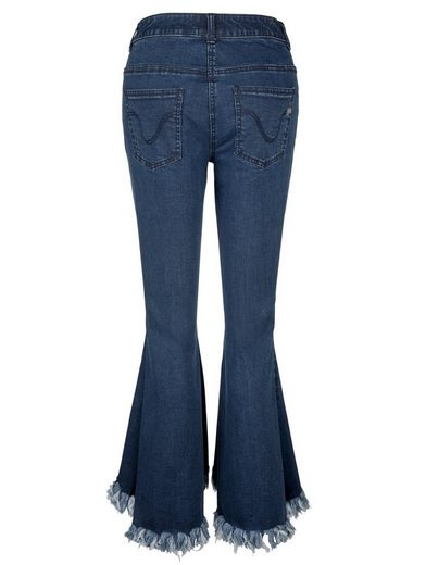 Amy Vermont Flared Jeans mit ausgefranstem Saum