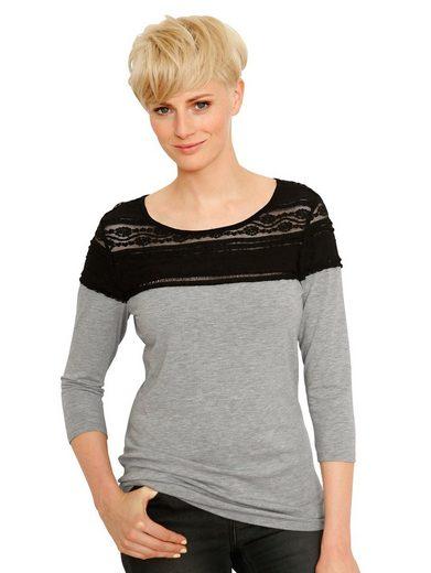 Amy Vermont Shirt mit Spitzenbesatz