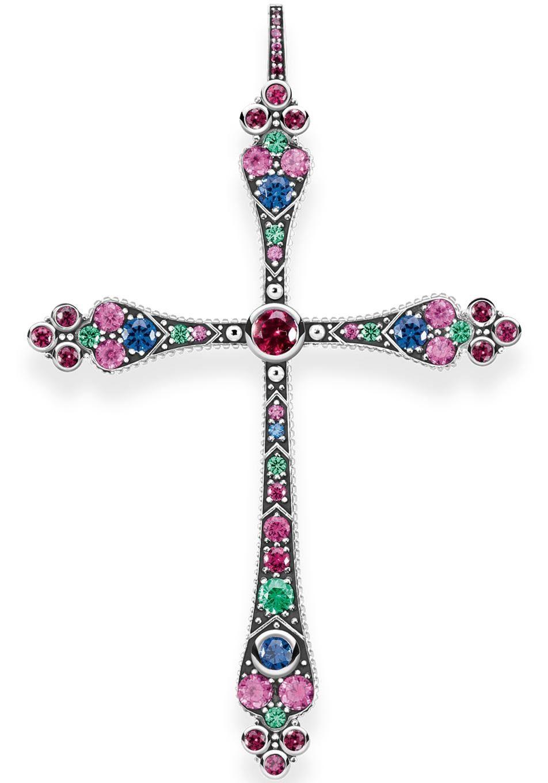THOMAS SABO Kreuzanhänger »Royalty Kreuz, PE767-322-7« mit Glasstein, synth. Korund und synth. Spinell