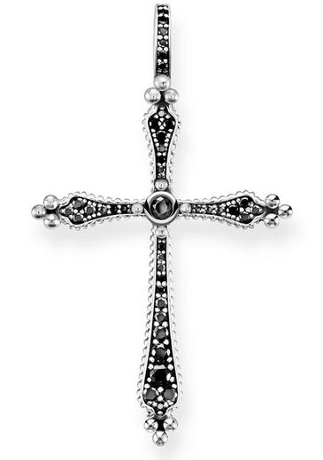 THOMAS SABO Kreuzanhänger »Royalty Kreuz Schwarze Steine, PE764-643-11«, mit Zirkonia