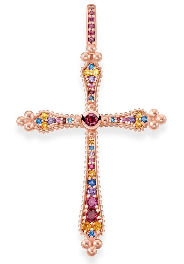 THOMAS SABO Kreuzanhänger »Royalty Kreuz, PE768-068-7« mit Korund (synth), Spinell (synth), Zirkonia (synth) und Glassteinen