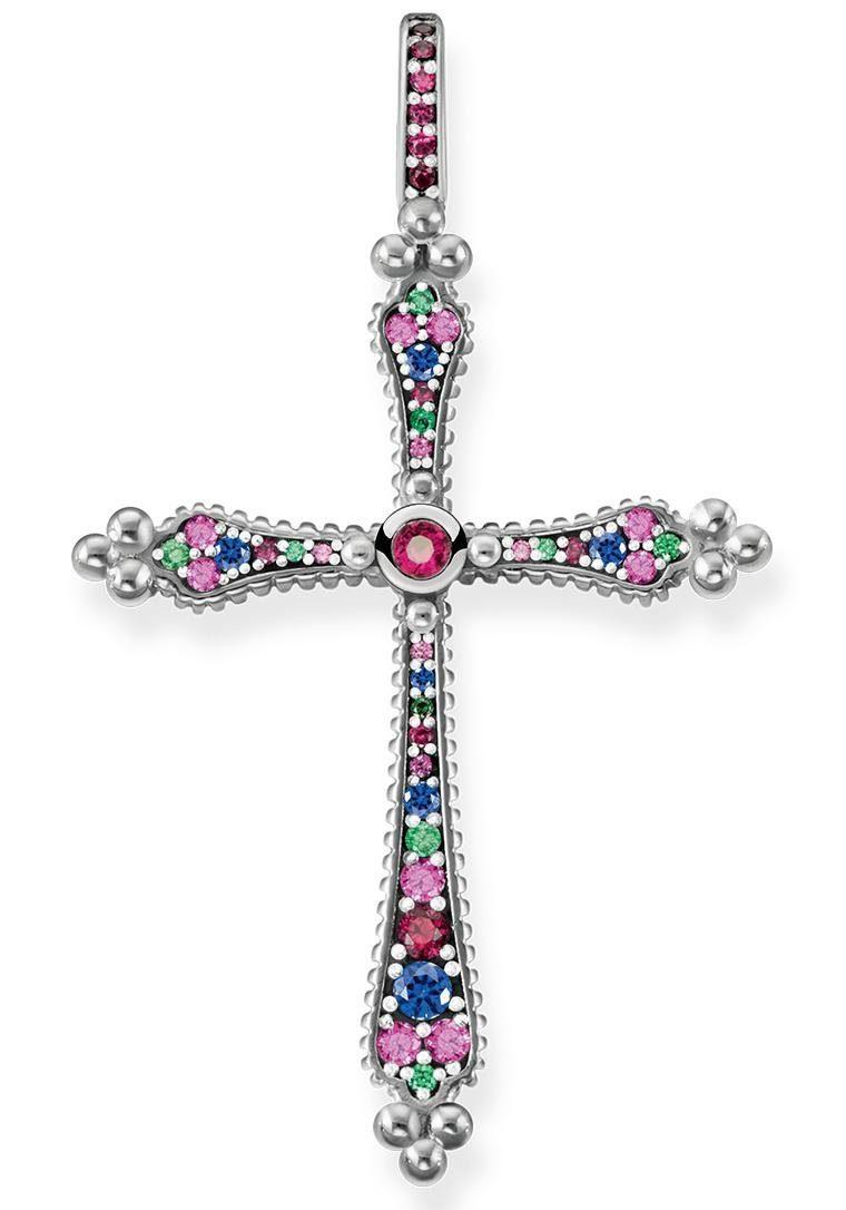 THOMAS SABO Kreuzanhänger »Royalty Kreuz, PE766-322-7« mit Glasstein, synth. Korund und synth. Spinell
