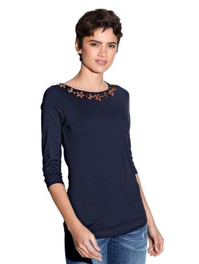 Amy Vermont Shirt mit Strass- und Perlendekoration