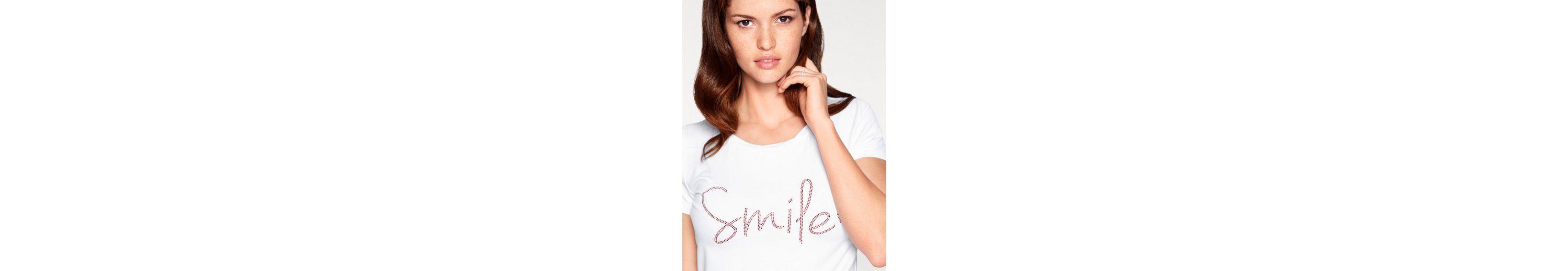 Günstige Standorte Verkauf Auslass Besuchen Online-Verkauf Neu ASHLEY BROOKE by Heine T-Shirt mit Smile-Schriftzug Steckdose Versorgungs Günstig Kaufen Für Billig N8ZgAD6QsV