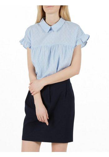 Damen Y.A.S Volant Kurzarmhemd blau | 05713611637309