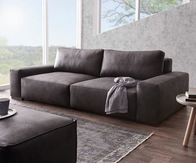 delife bigsofa lanzo anthrazit 270x125 cm vintage otto. Black Bedroom Furniture Sets. Home Design Ideas