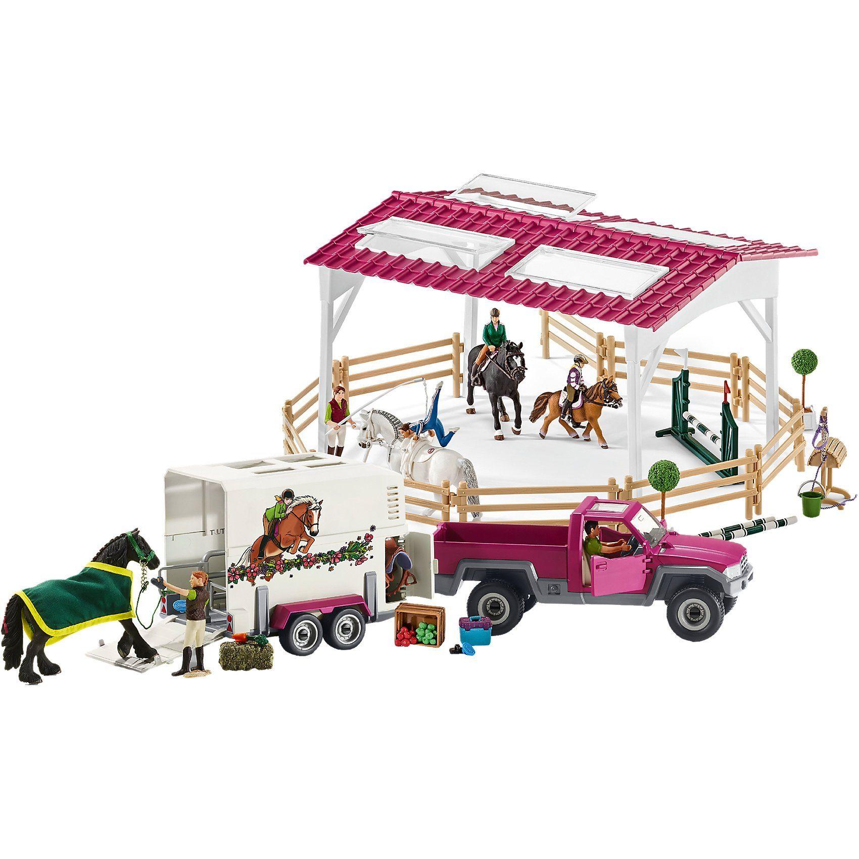 Schleich® 42403 Reitschule mit Pick-up und Anhänger