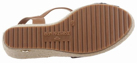 Tom Tailor Sandalette, mit jutebezogenem Keilabsatz