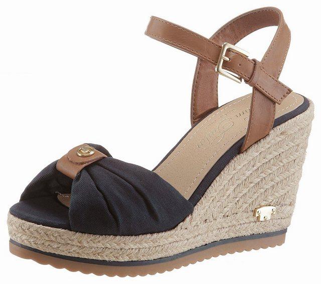 Tom Tailor Sandalette mit jutebezogenem Keilabsatz   Schuhe > Sandalen & Zehentrenner > Sandalen   Blau   Tom Tailor