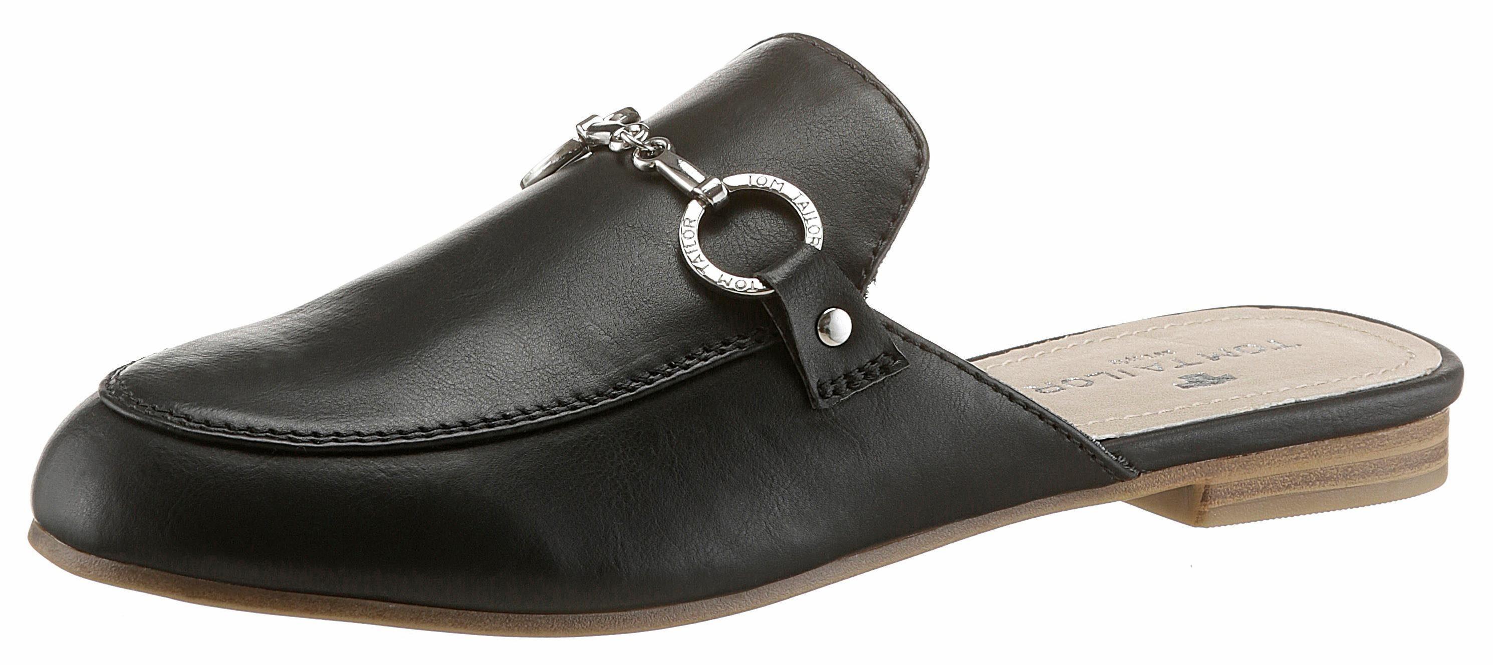 Tom Tailor Clog, mit hübscher Zierkette kaufen  schwarz