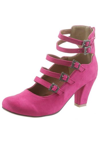Damen Hirschkogel Trachtenpumps mit Zipp hinten rosa | 04054106372567