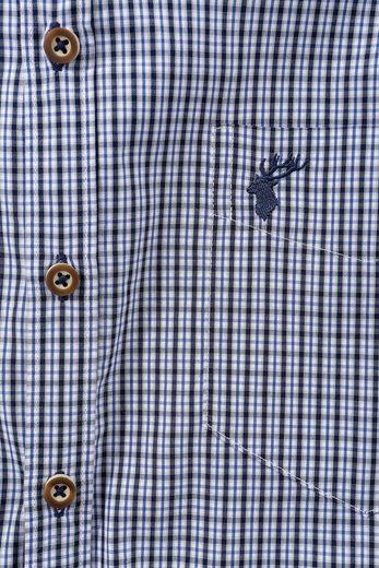 OS-Trachten Trachtenhemd kariert mit Knöpfe in Hirschhornoptik