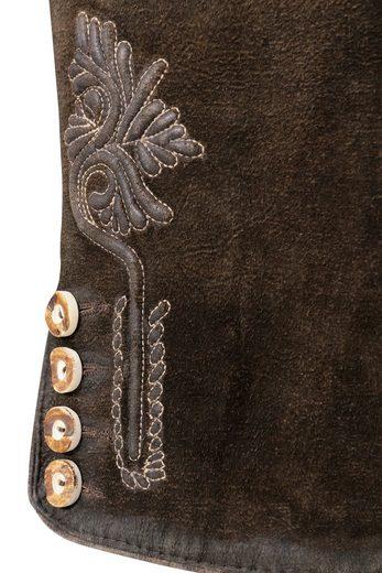 Marjo Trachtenlederhose kurz Herren mit traditioneller Stickerei
