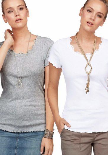 Boysen's T-Shirt (Packung, 1 tlg., 2er-Pack), mit Spitze