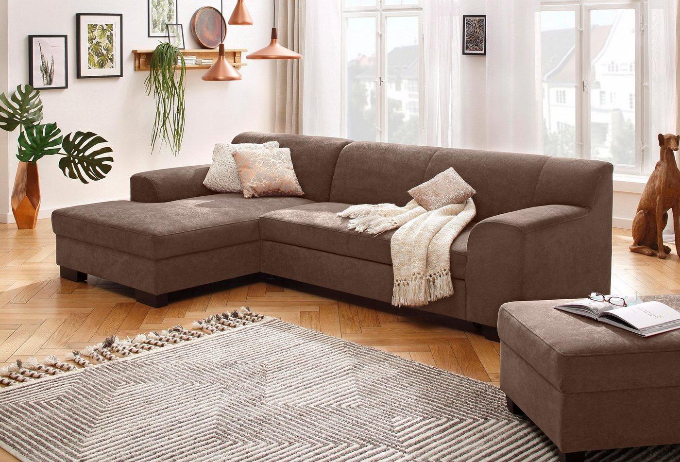 Home affaire Ecksofa »Wanda«, wahlweise mit Bettfunktion in 4 Bezugsarten | Wohnzimmer > Sofas & Couches > Ecksofas & Eckcouches | Braun | Holzwerkstoff | Home affaire