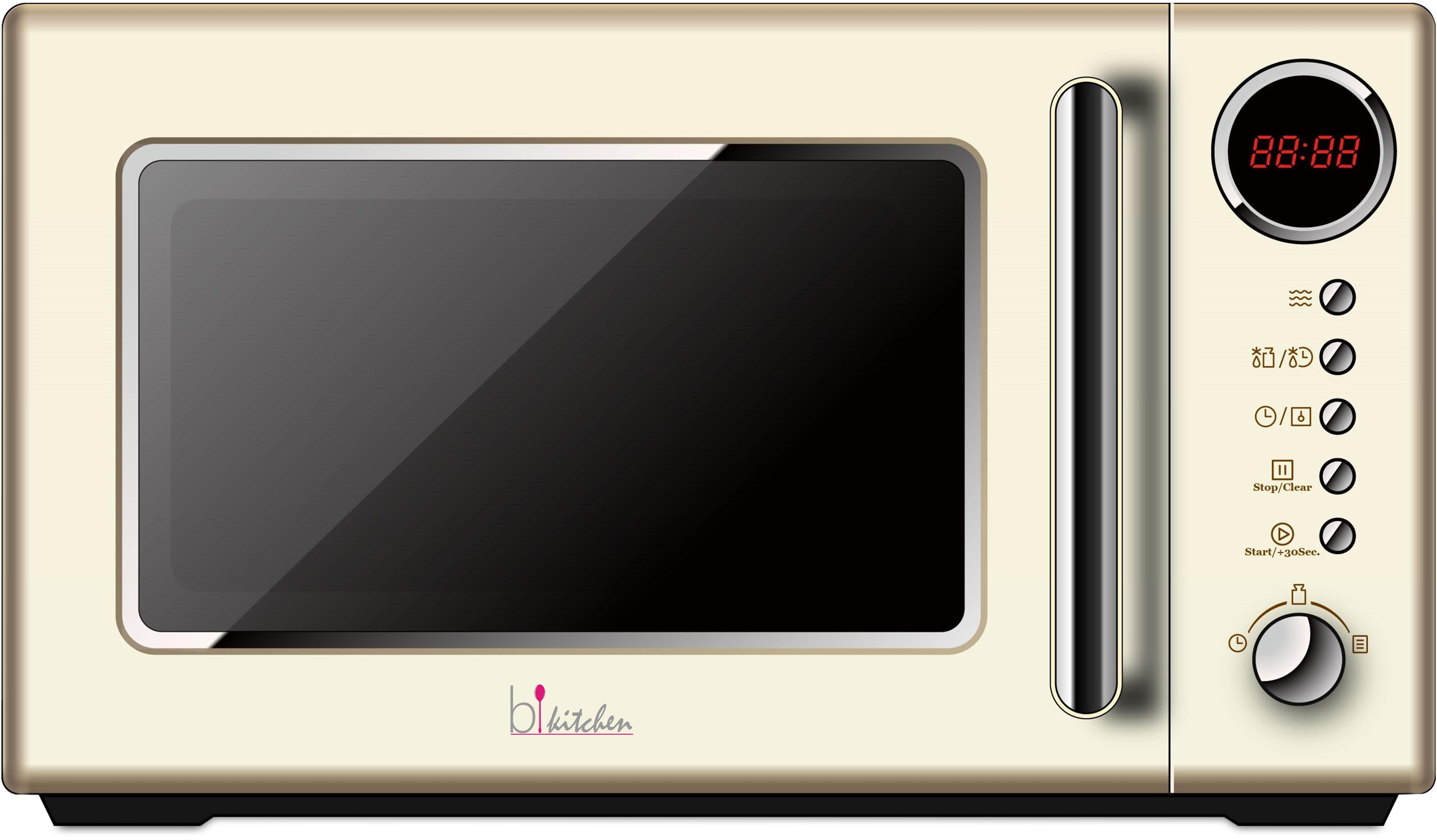 Bkitchen Retro Mikrowelle Cook 815, 20 Liter Garraum, 700 Watt, beige