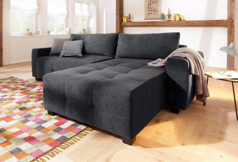 home affaire ecksofa bella wahlweise mit bettfunktion und bettkasten steppung im sitzbereich. Black Bedroom Furniture Sets. Home Design Ideas