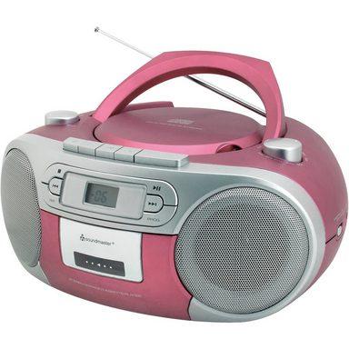 Soundmaster CD Player mit Radio und Kassettenspieler, rosa