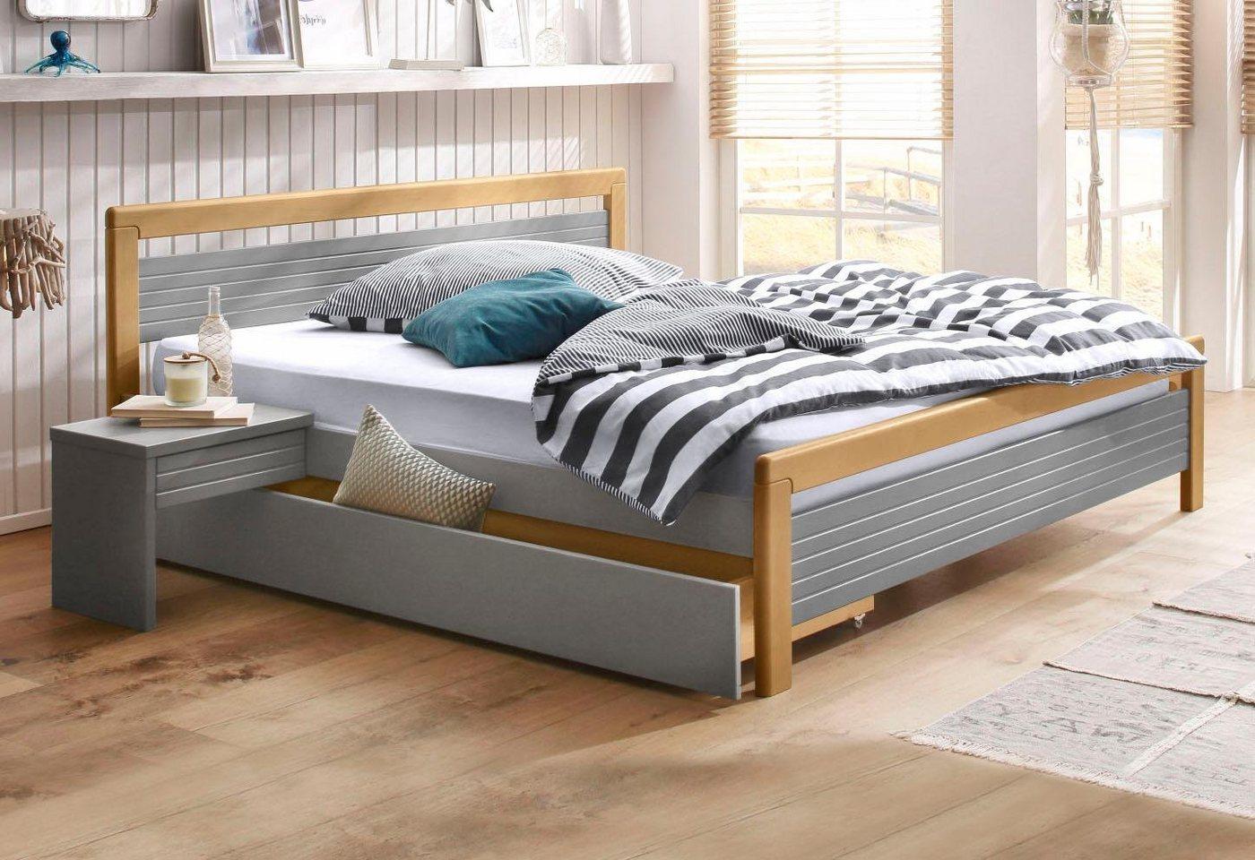 HOME AFFAIRE Bett CAPRE - 160x200 cm / grau-eichefarben