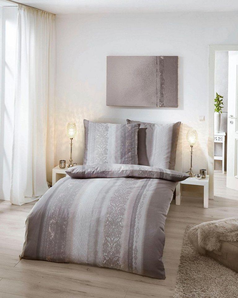 bettw sche kaeppel dentelle mit streifen und bl ten. Black Bedroom Furniture Sets. Home Design Ideas