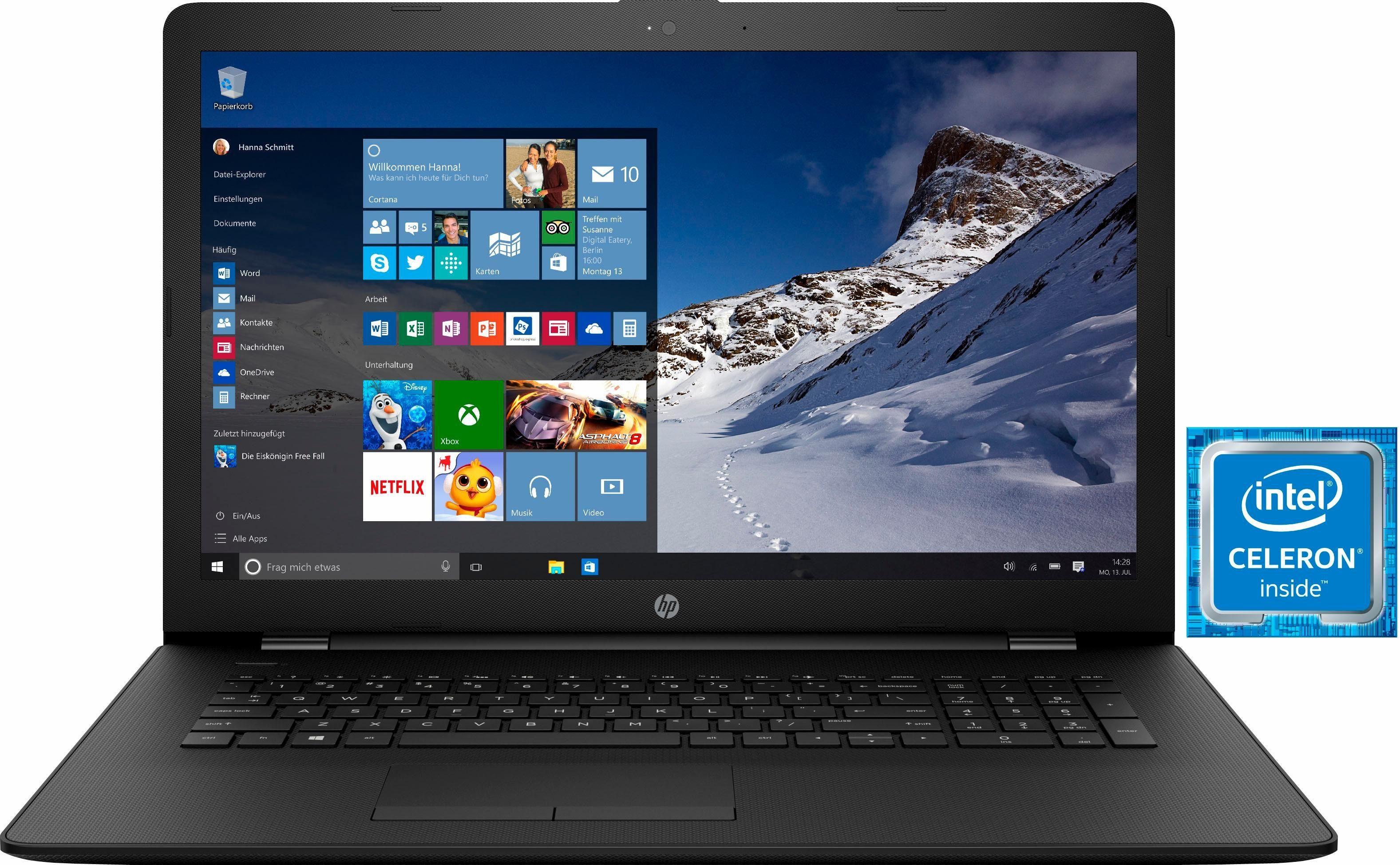 HP 17-bs044ng Notebook, Intel® Celeron™, 43,9 cm (17,3 Zoll), 500 GB Speicher, 4096 MB DDR3L-SDRAM