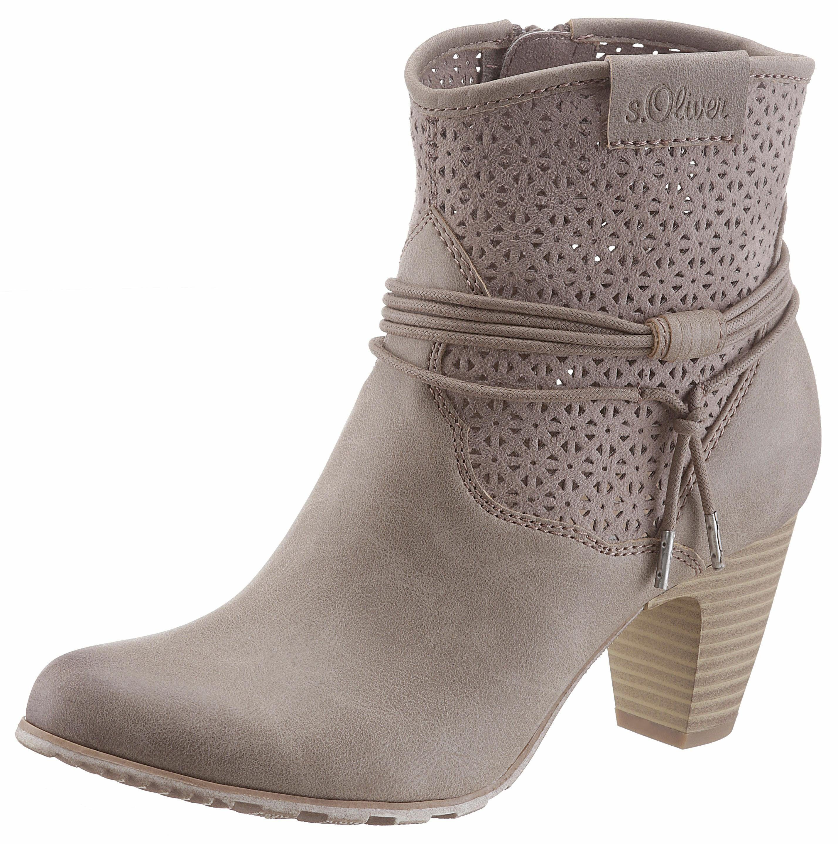 sOliver RED LABEL Stiefelette, mit Lasercut  taupe