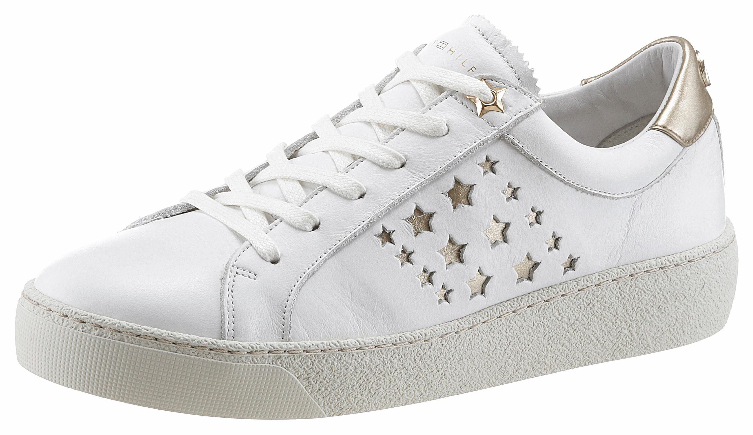 Tommy Hilfiger Suzie Sneaker, mit Sternchen-Perforation online kaufen  weiß-goldfarben