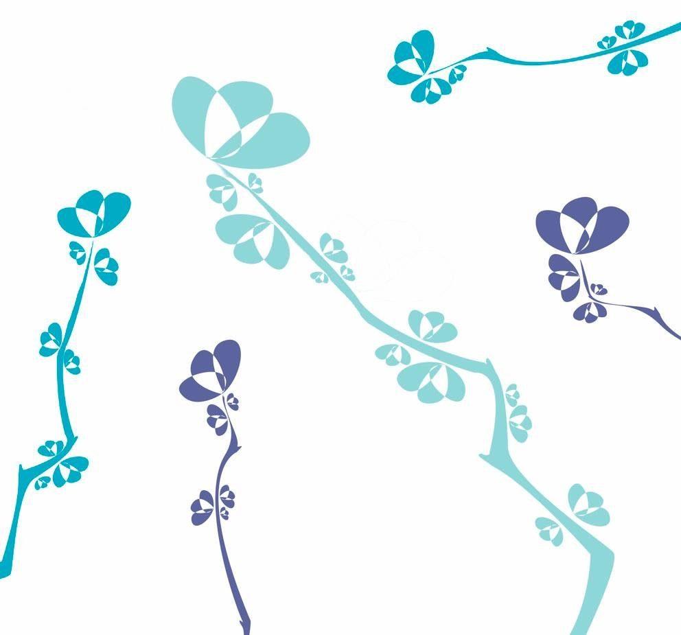 Fototapete, Rasch, »stilisierte Zweige« - broschei