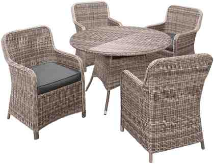 Komplett-Set: Gartenmöbelset »Korsika«, 9-tlg., 4 Sessel, Tisch Ø 120 cm, Polyrattan, inkl. Auflage
