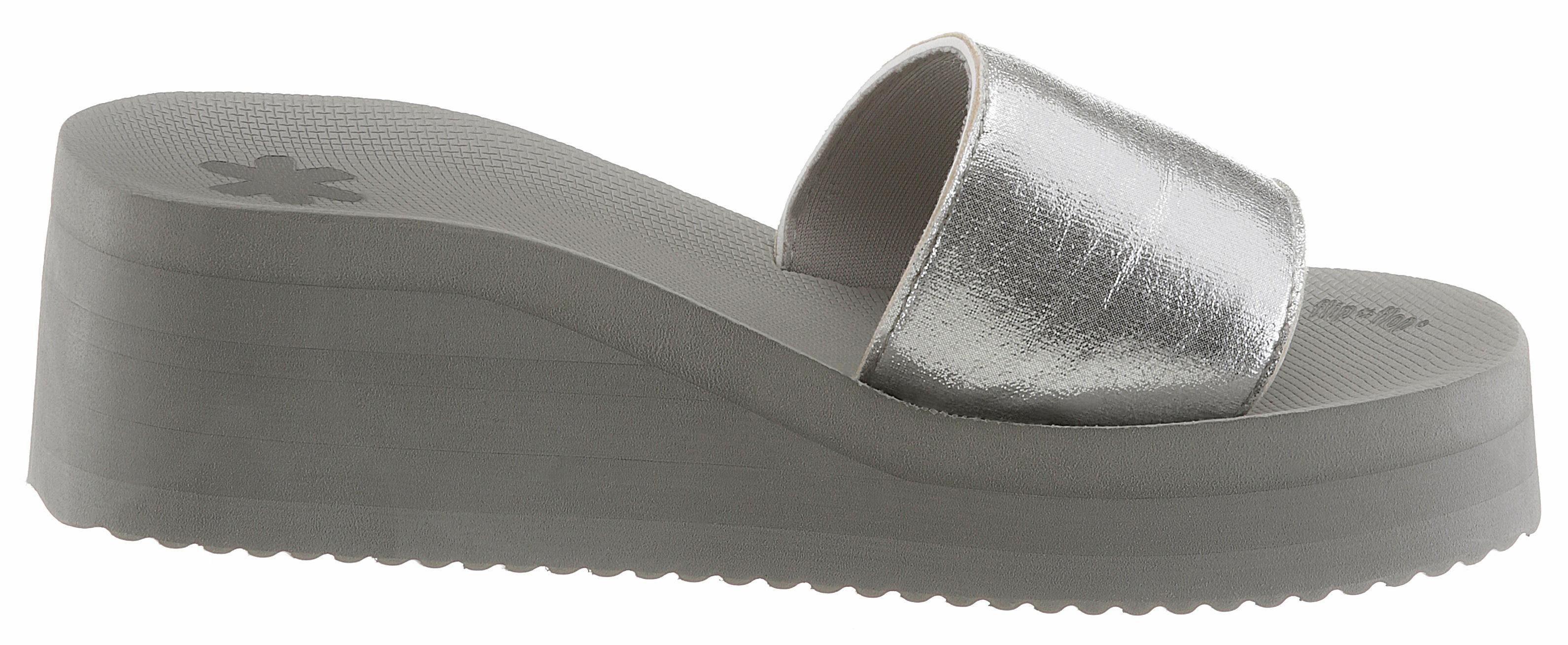 Flip Flop Pantolette, mit modischem Keilabsatz  silberfarben