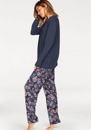 Seidensticker Pyjama mit geblümter Longpants