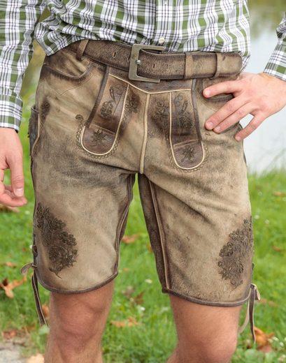 Herren Country Look Kurz Trachtenlederhose Line Im Used q0Ppg