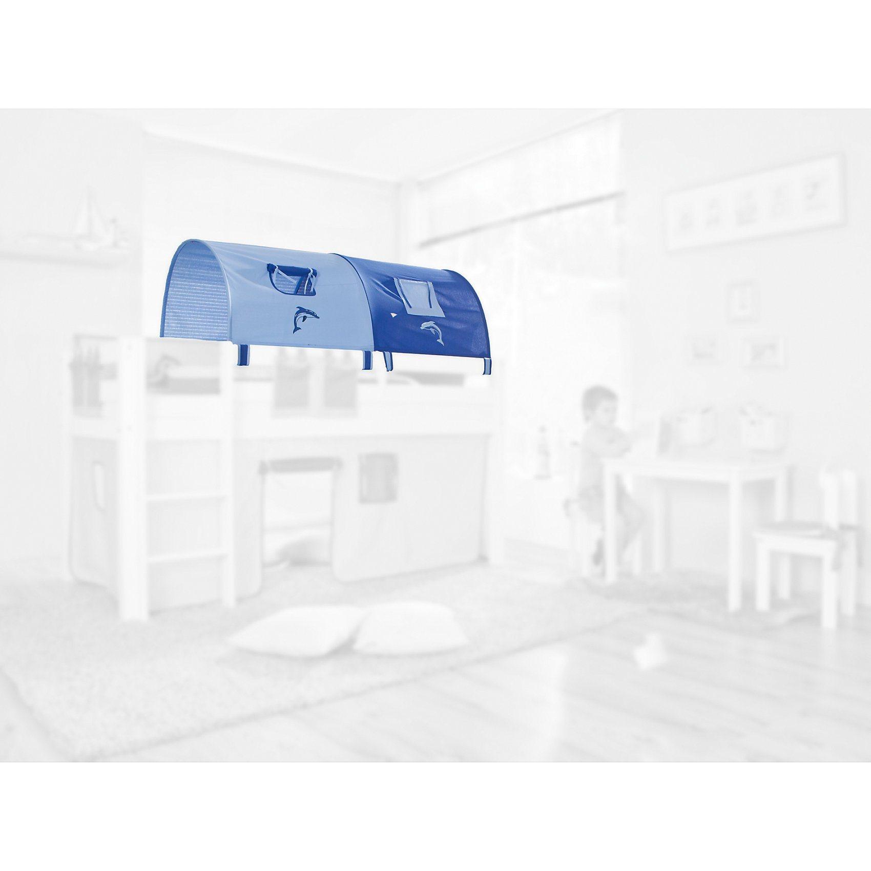 Relita 2er Tunnel für Hoch-und Etagenbetten, Delphin, blau/hellblau | Kinderzimmer > Kinderbetten > Etagenbetten | Baumwolle | Relita