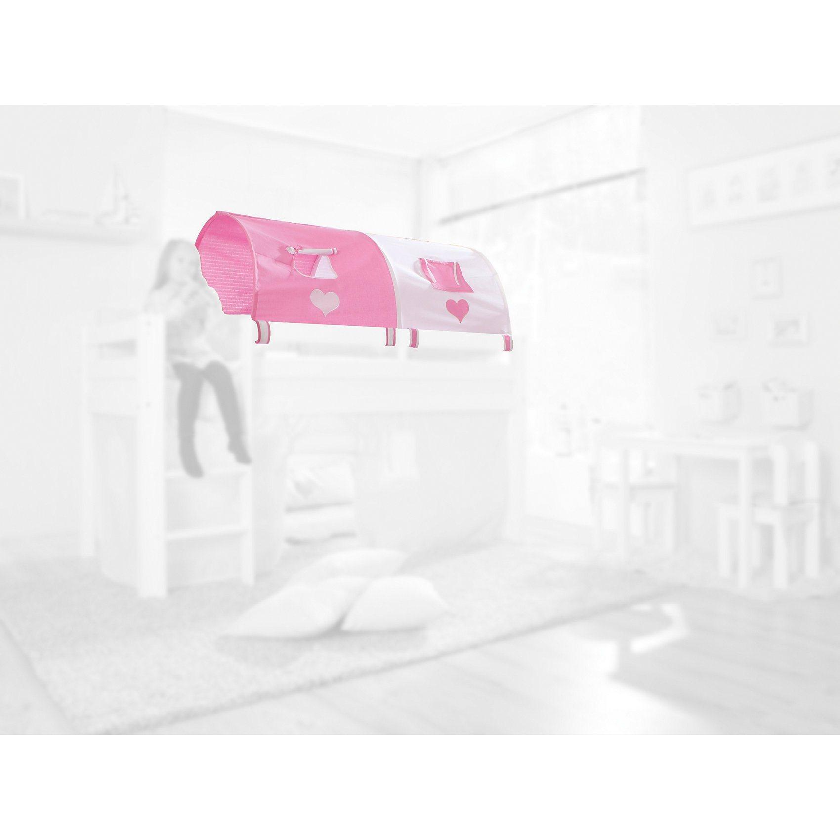 Relita 2er Tunnel für Hoch-und Etagenbetten, Herz, rosa/weiß, 150 c | Kinderzimmer > Kinderbetten > Etagenbetten | Baumwolle | Relita