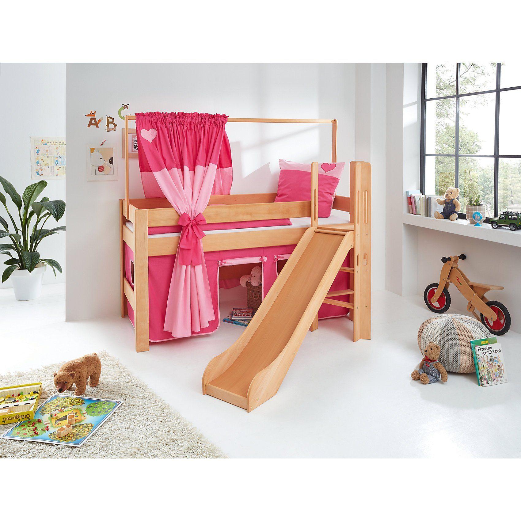 Relita Zeltstoffset für Spielbett LEO, Herz, pink/rosa