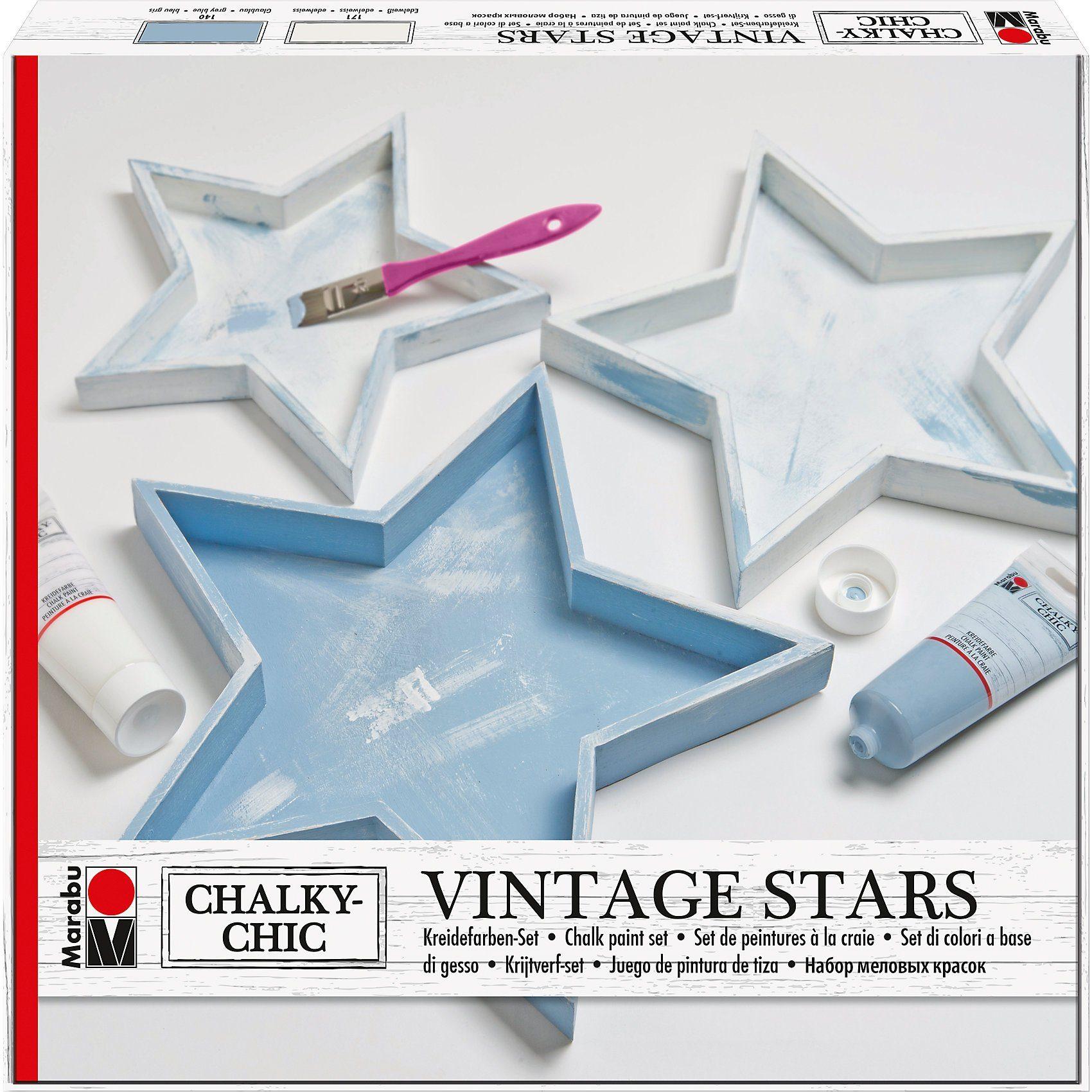 Marabu Kreidefarben-Set Chalky Chic Vintage 3 x Holztablett Sterne
