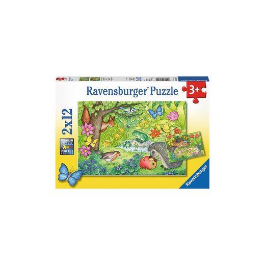 Ravensburger 2er Set Puzzle, je 12 Teile, 26x18 cm, Tiere in unserem Gart