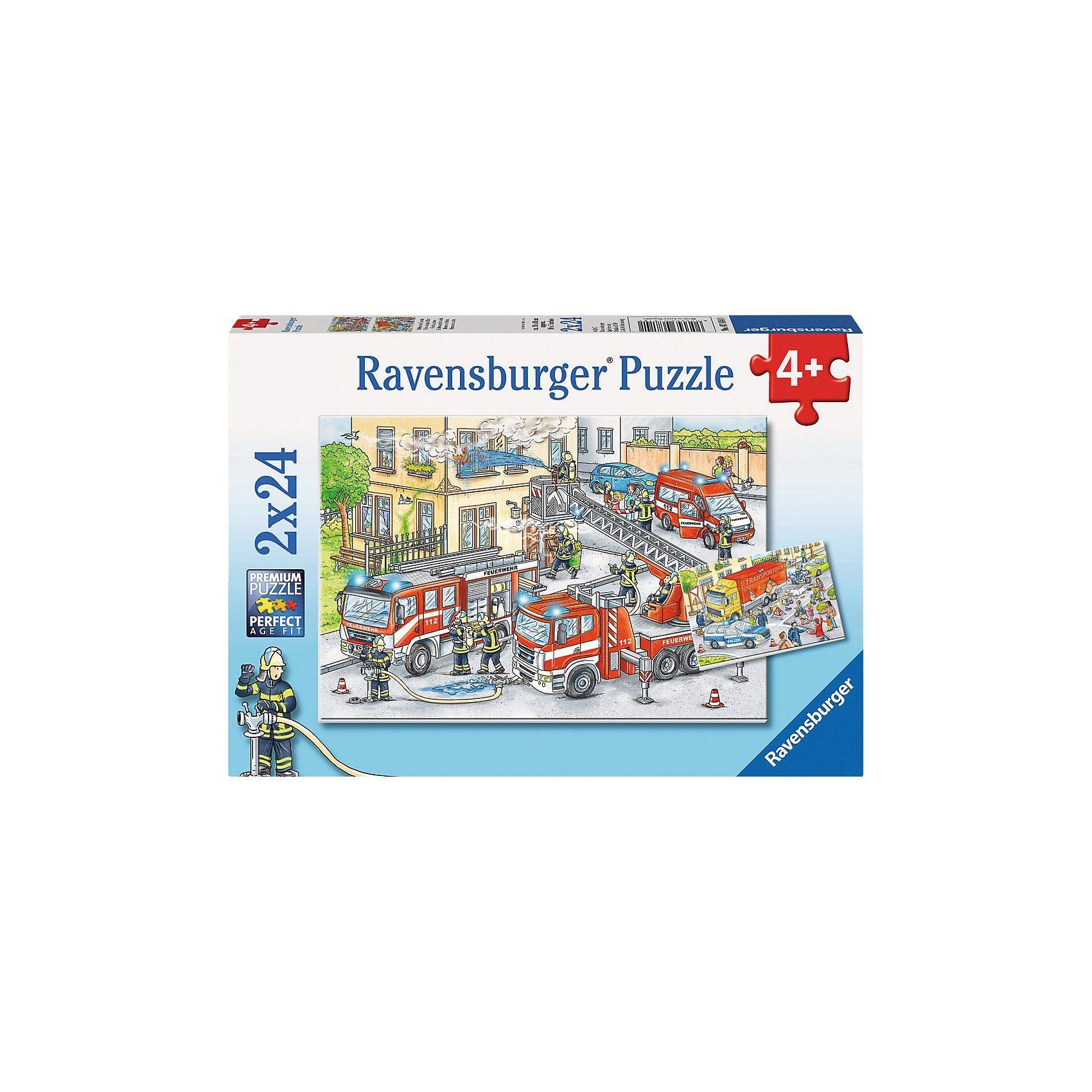 Ravensburger 2er Set Puzzle, je 24 Teile, 26x18 cm, Helden im Einsatz Puz