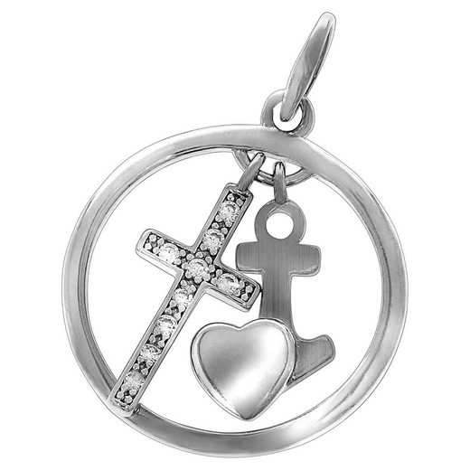 Vivance Kreuzanhänger »925/- Sterling Silber Kreuz Zirkonia«, Anhänger