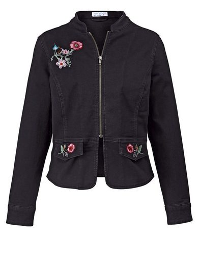 Angel of Style by Happy Size Jeansjacke mit Blumen-Stickerei