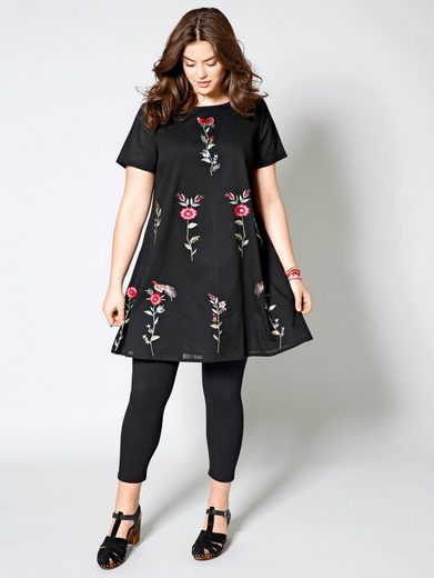 Angel of Style by Happy Size Kleid mit Blumen-Stickerei