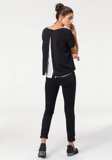 Broadway Nyc Fashion Print Blouse Bonita, With Continuous Button Facing Back