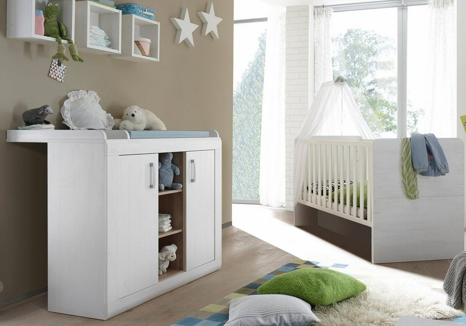 babyzimmer spar set usedom babybett wickelkommode 2 tlg in pinie struktur nb wei. Black Bedroom Furniture Sets. Home Design Ideas