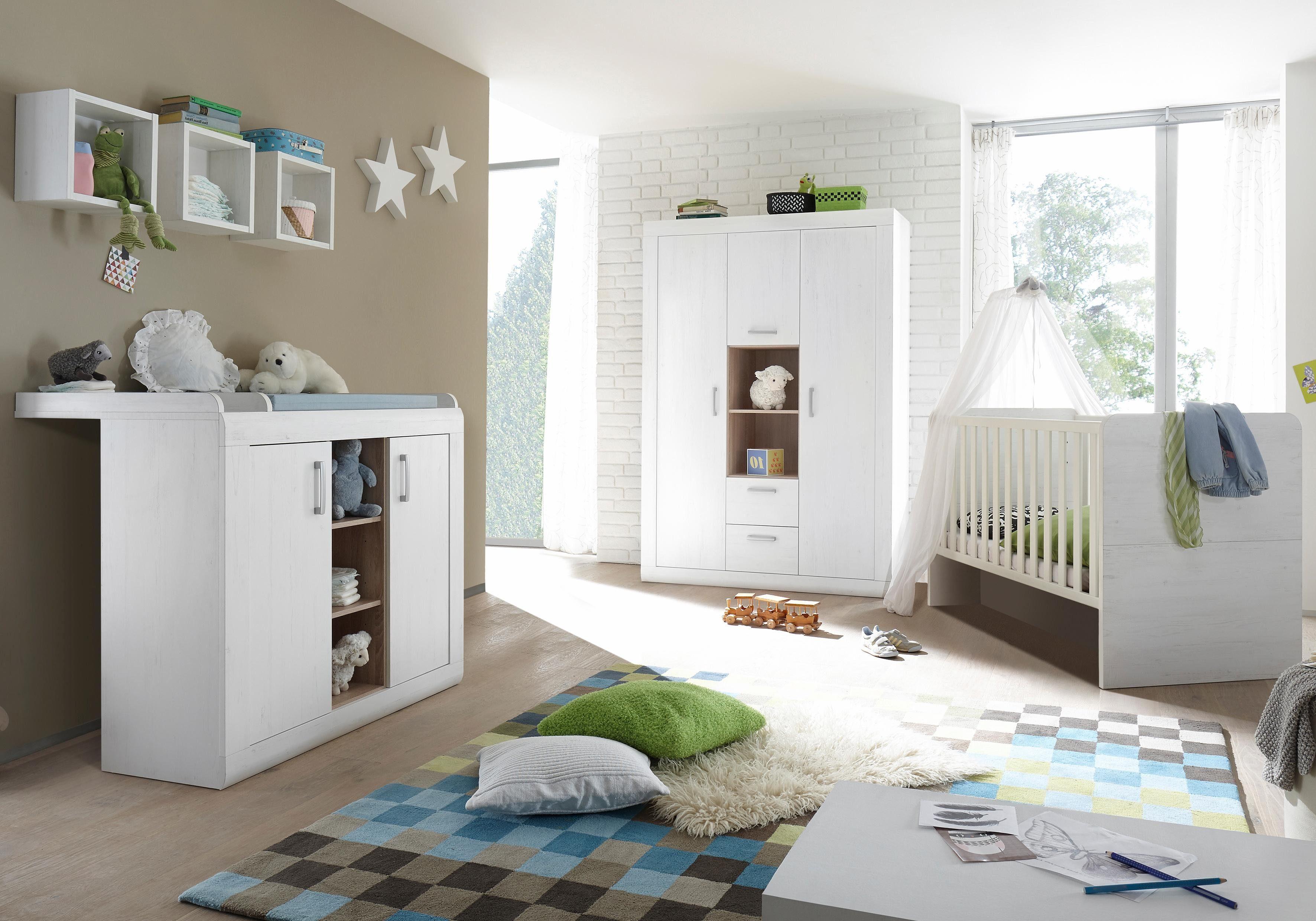 Komplett Babyzimmer »Usedom« Babybett + Wickelkommode + Kleiderschrank, (3-tlg.) in Pinie Struktur NB weiß