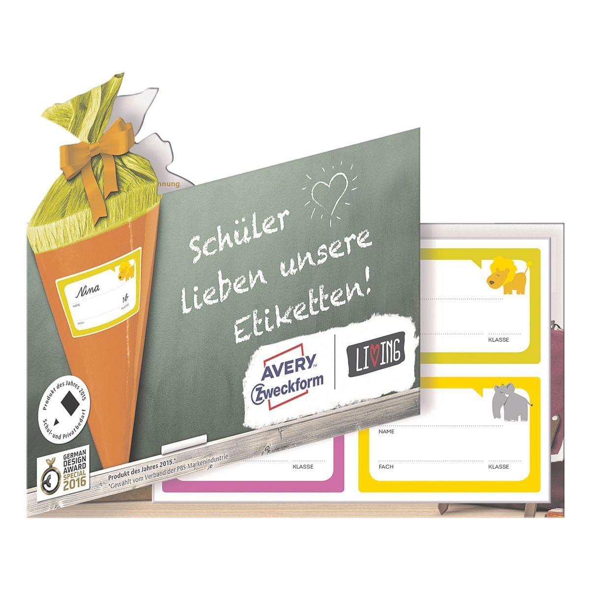 Avery Zweckform Muster-Etiketten aus der für Schulhefte »Living-Serie«