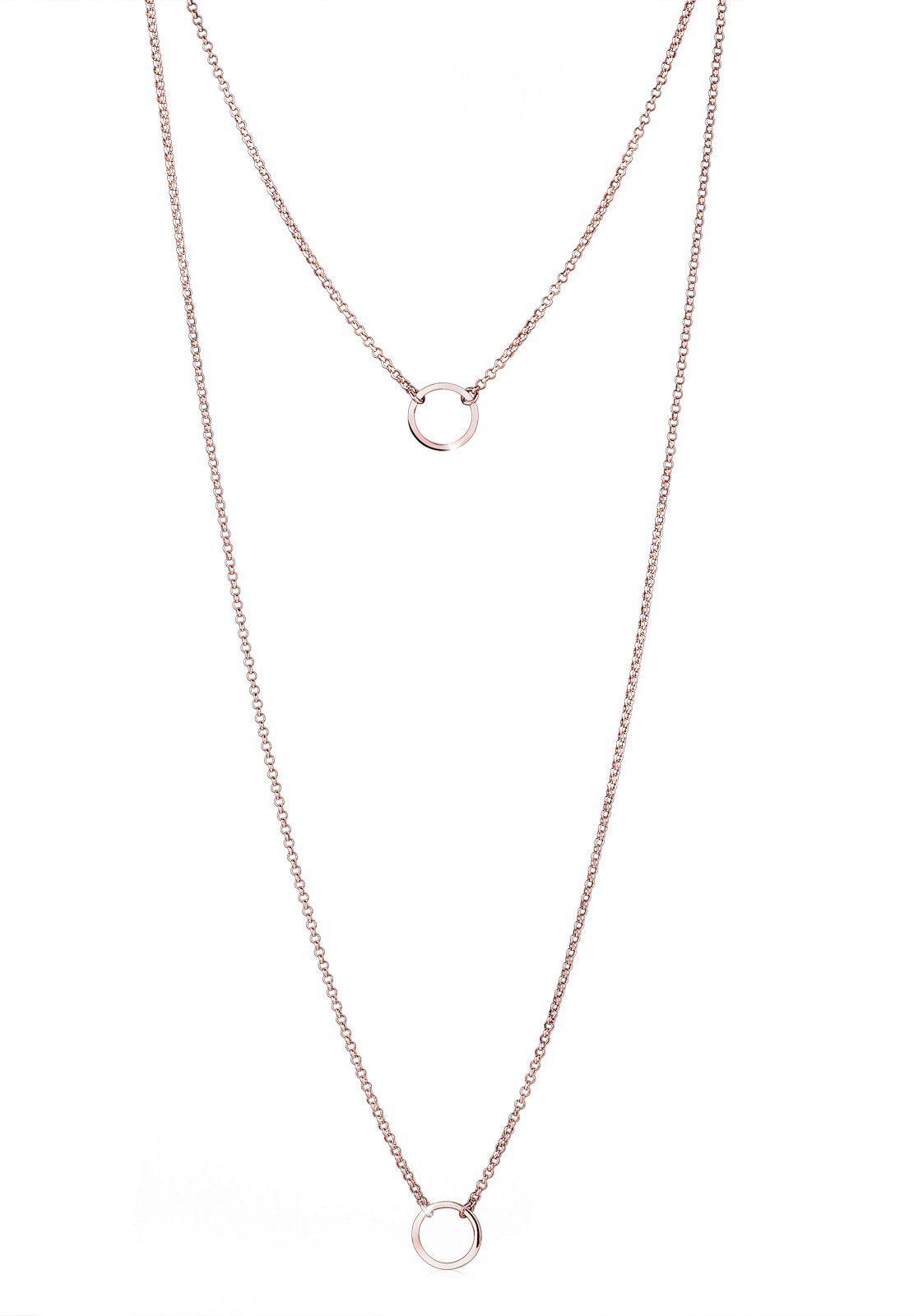 Elli Halskette »925 Sterling Silber Kreise Roségold«