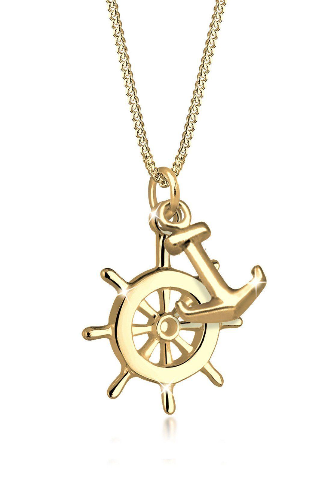 Goldhimmel Halskette »Steuerrad Anker Meer 925 Silber vergoldet Liane«