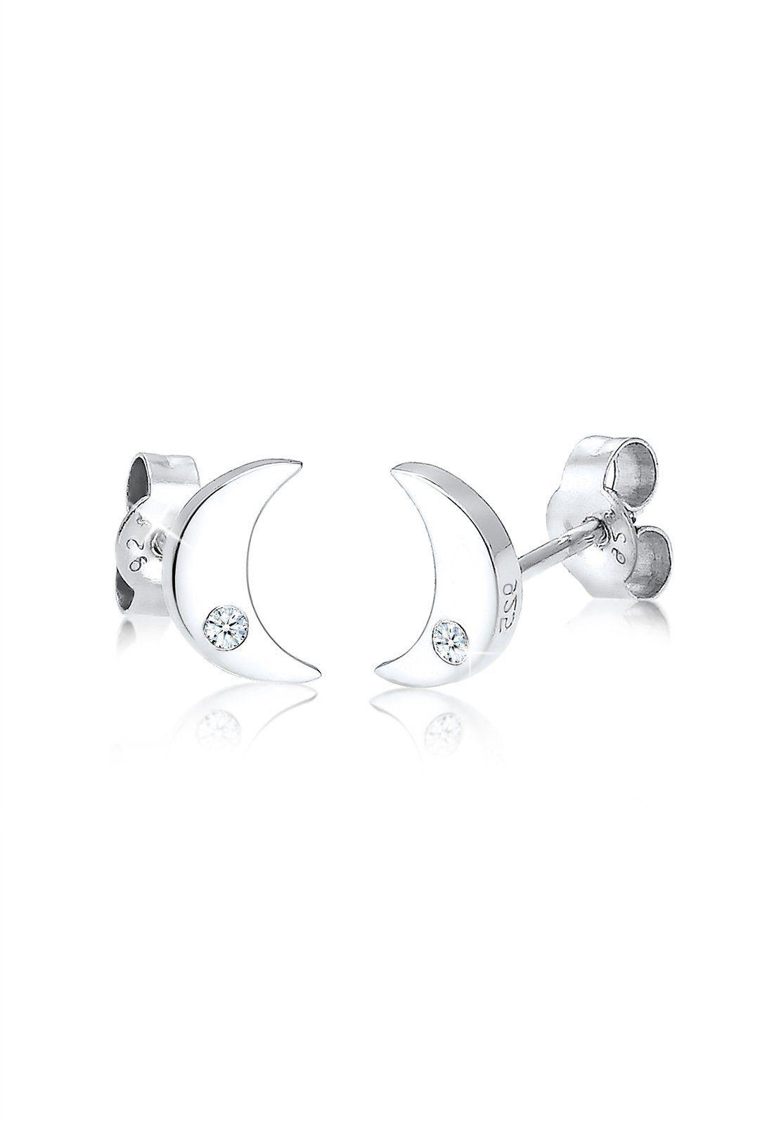 Elli Ohrringe »Halbmond Astro Diamant (0.04 ct.) 925 Silber Sandy«
