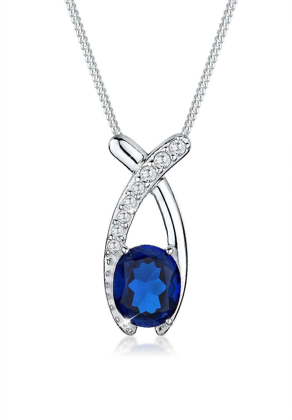 Elli Halskette »Zirkonia Saphirblau 925 Sterling Silber«