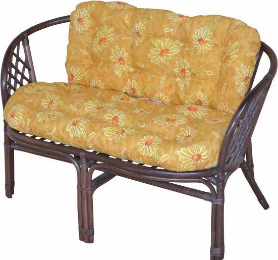 Home affaire Sitzbank, aus handgeflochtenem Rattan, mit Kissen